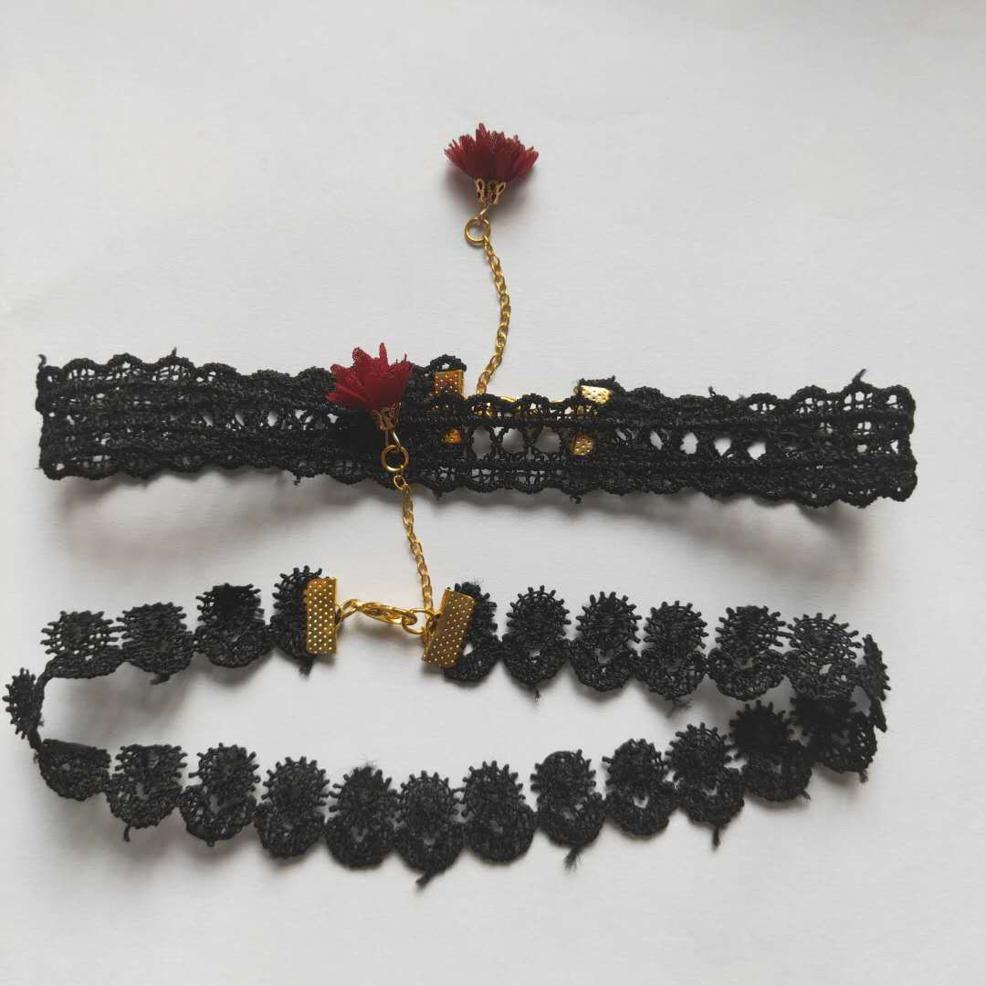 日韩元素纯手工黑色蕾丝女士锁骨链项链项圈批发