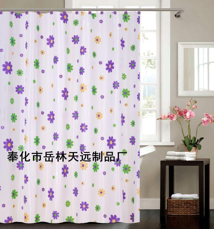 一件代发卫生间隔断帘环保塑料门帘加厚防水防霉白底花朵PEVA浴帘
