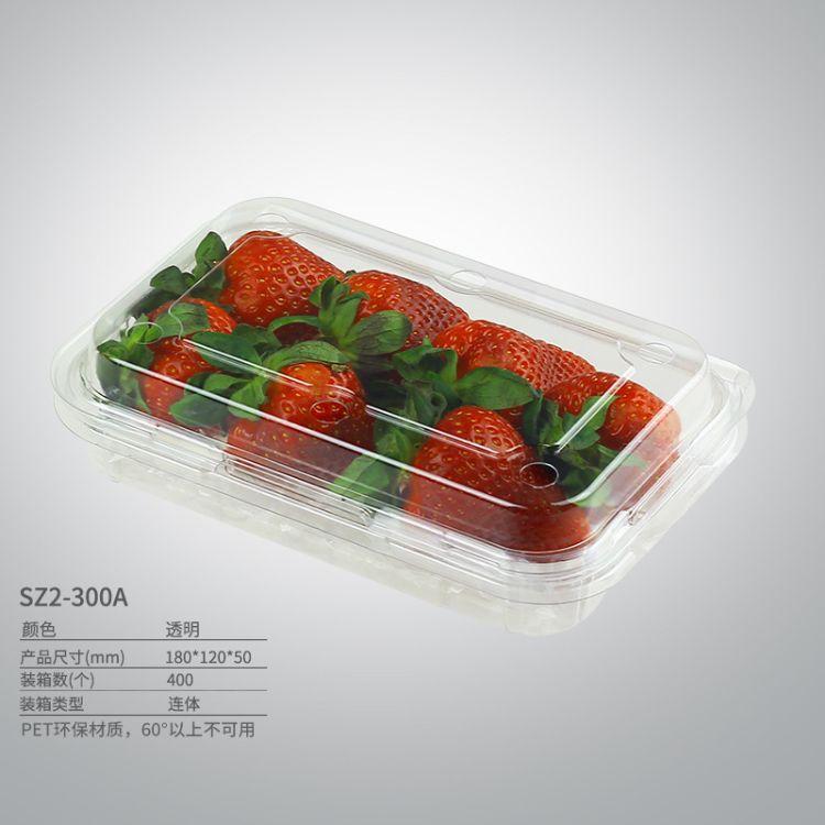 供应SZ2-300A#300g透明连体带盖水果盒食品包装盒厂价直销