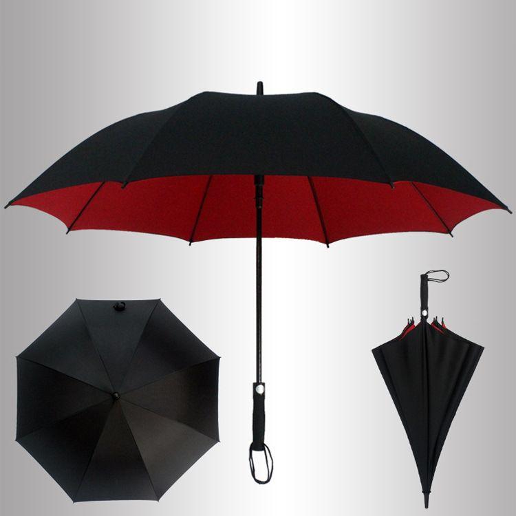 厂家定制手动高尔夫雨伞 自动双层双色直杆伞 男士商务雨伞定制