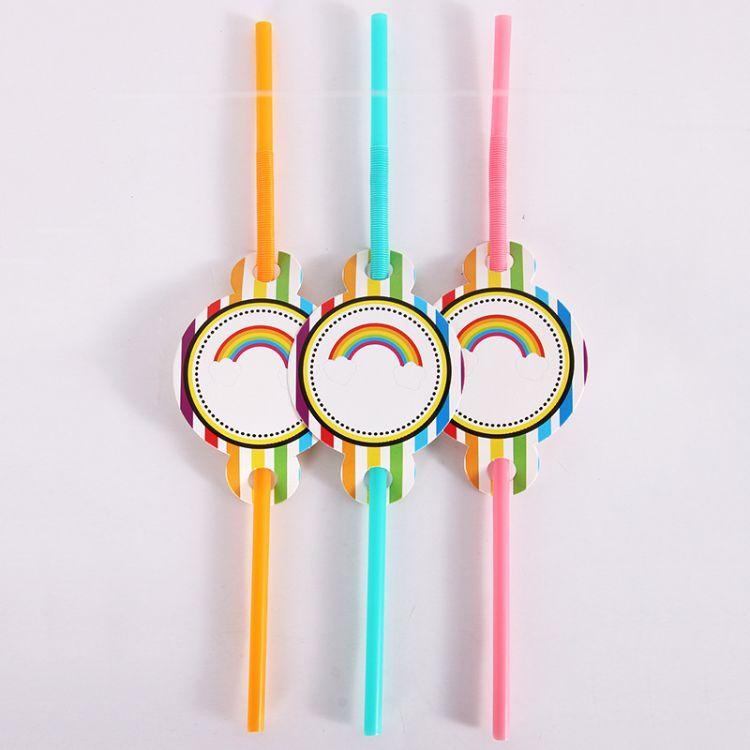 厂家直销生日派对彩色动漫卡片吸管  可爱节庆聚会装扮布置用品