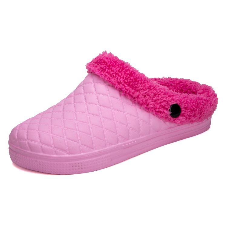 情侣毛绒棉拖居家室外两穿保暖棉拖包头月子加绒拖鞋男女拖鞋