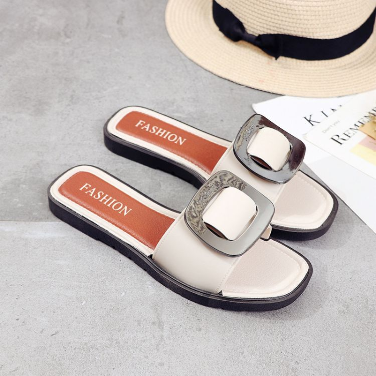 欧美时尚皮带扣拖鞋女夏季韩版金属扣子一字拖防滑平底室外拖鞋