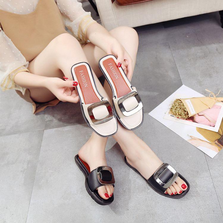 拖鞋女夏2017新款时尚外穿H型平底防滑沙滩一字拖凉韩版鞋拖凉鞋