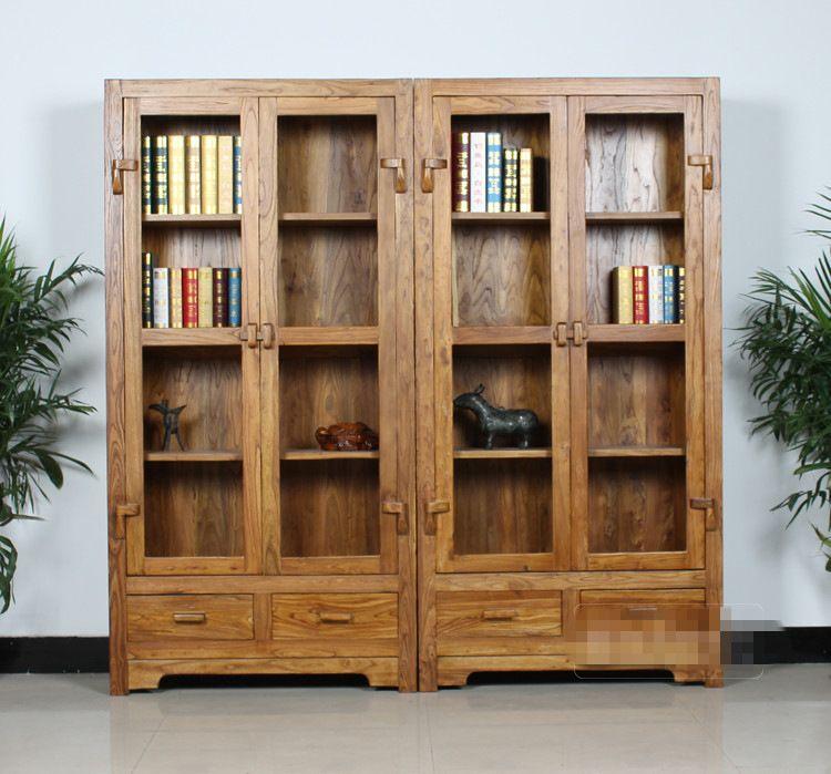 老榆木柜子大料书柜实木文件柜储物柜简约书柜批发白茬j定做