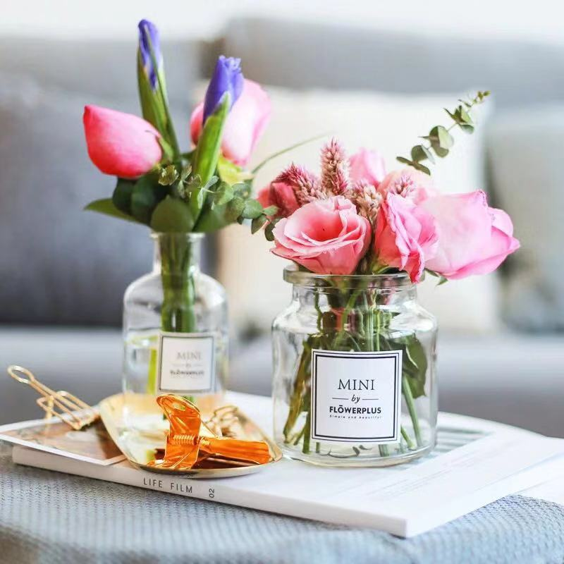 ins透明花瓶 mini小口试剂花瓶 家居简约餐桌办公司摆件台面花器
