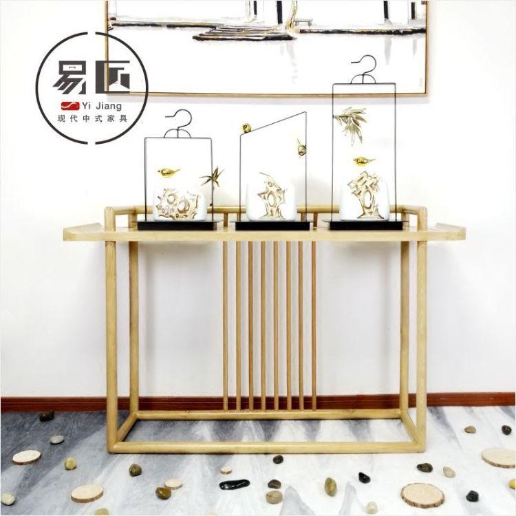 新中式实木画案供桌禅意玄关台条案几案台花架过道客厅端景装饰台