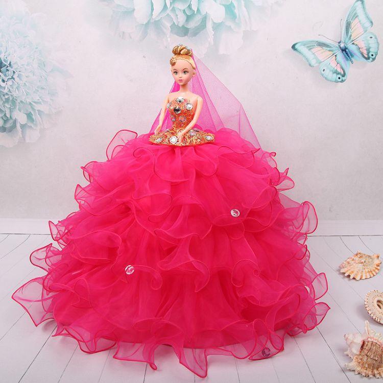 婚纱娃娃齐地可爱娃娃婚纱公主新娘儿童玩具手工女孩生日礼物摆件
