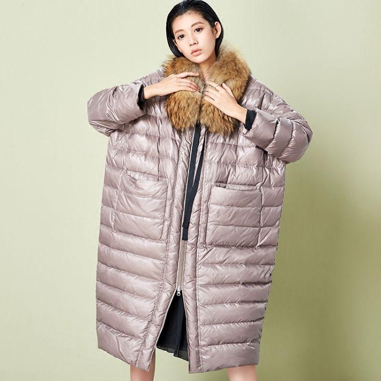 2017冬季原创设计白鸭绒女高端圆领大廓形长羽绒服直销(不含毛领