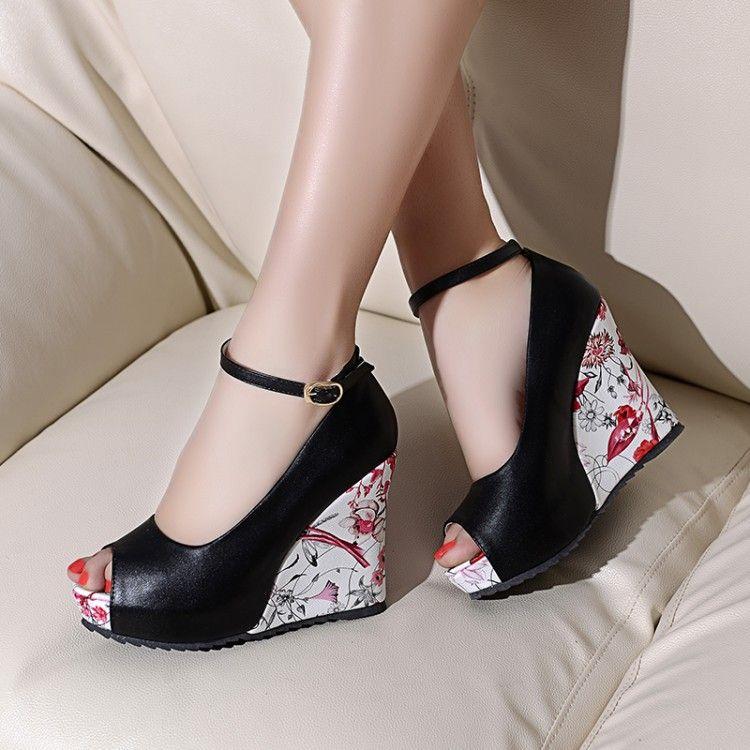 2015韩版碎花坡跟凉鞋女一字扣带女士鱼嘴凉鞋工厂直销女鞋大码