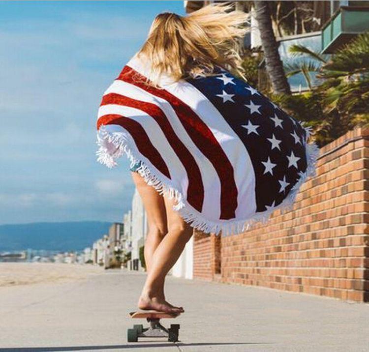 竣其017wish速卖通热卖 美国国旗沙滩巾圆形带流苏披肩外贸披风