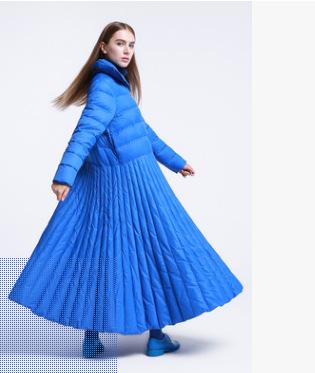 批发2018冬群子款式长款过膝拉链立领白鸭绒羽绒服女外套一件代发