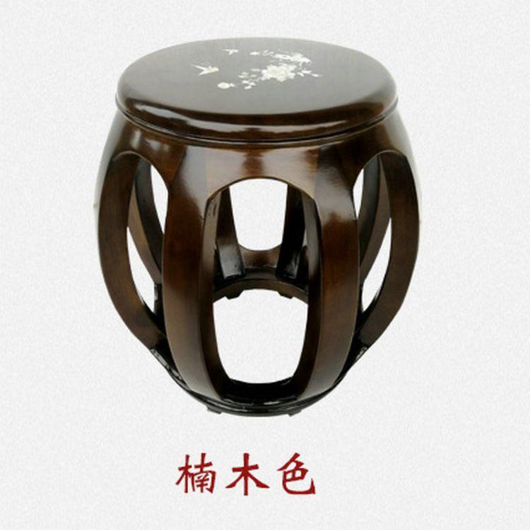 古筝圆凳 楠木色结实单人圆凳琴凳 素面款仿古杨琴古琴凳