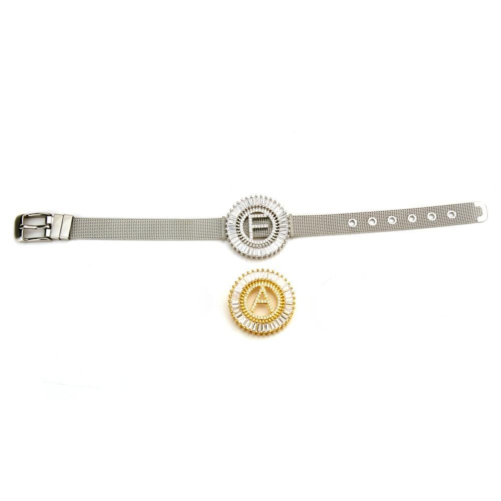 南美外贸热销字母手环 手表腕带式圆形大字母手链