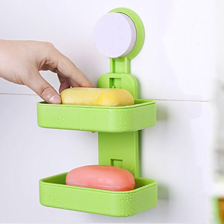创意双层强力吸盘肥皂盒浴室吸盘式双层沥水香皂盒肥皂架厂家直销
