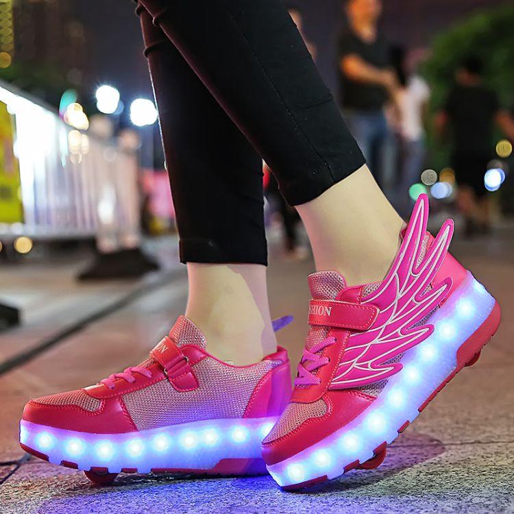 中大童网布双轮暴走鞋透气LED发光灯鞋翅膀闪光鞋USB充电隐形开关