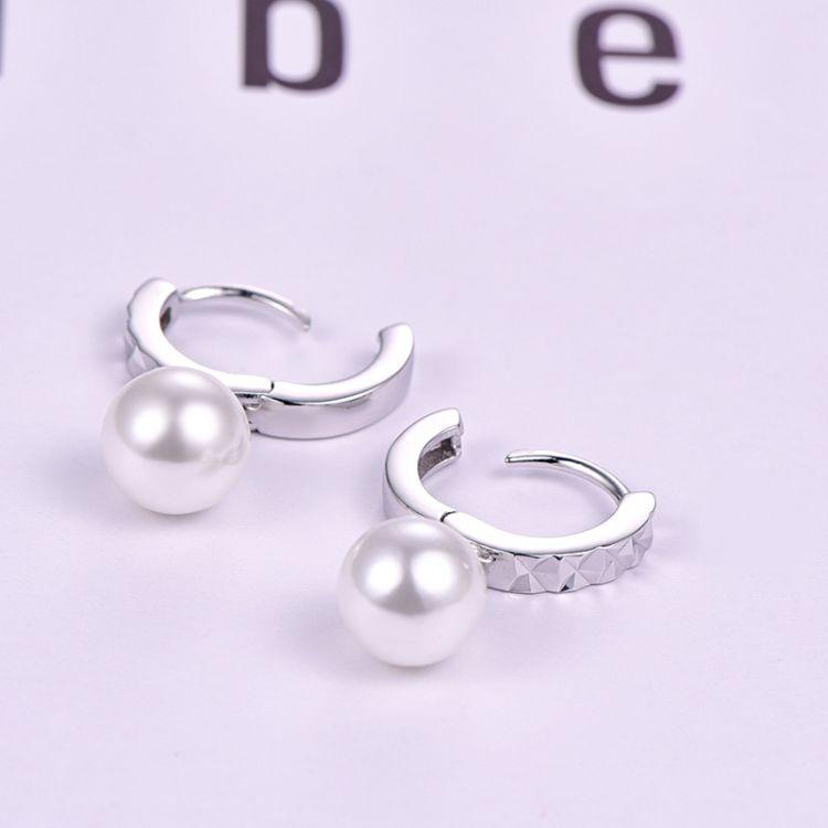 珍珠925银耳环时尚百搭耳钉个性贝珠耳扣韩版可来样定制厂家批发
