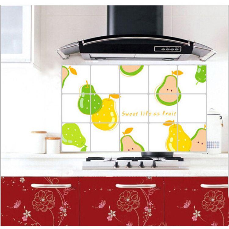 厂家批发45*75防油贴 厨房墙贴防油防火贴纸防水耐高温可定制
