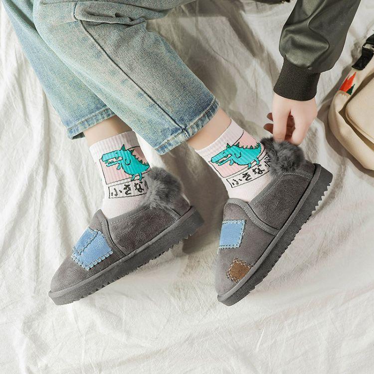 定制特价冬季日系乞丐雪地靴女 短筒马丁女靴子 拼色女鞋一件代发