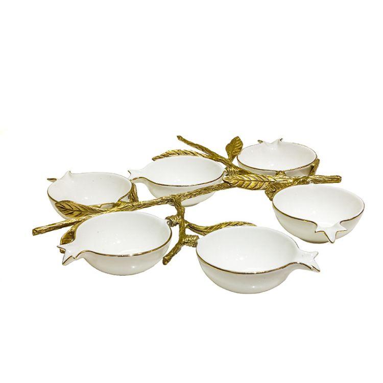 捷美现代陶瓷配铜干果碗 创意家居餐桌日用六头糖果碗工艺品摆件