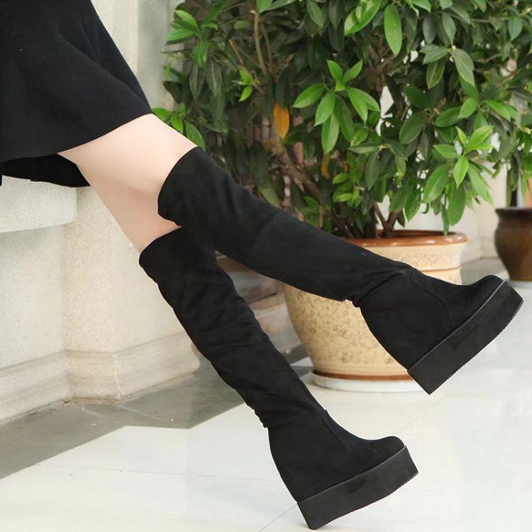 冬靴女2018新款韩版百搭高筒靴弹力靴子显瘦长筒靴松糕厚底内增高
