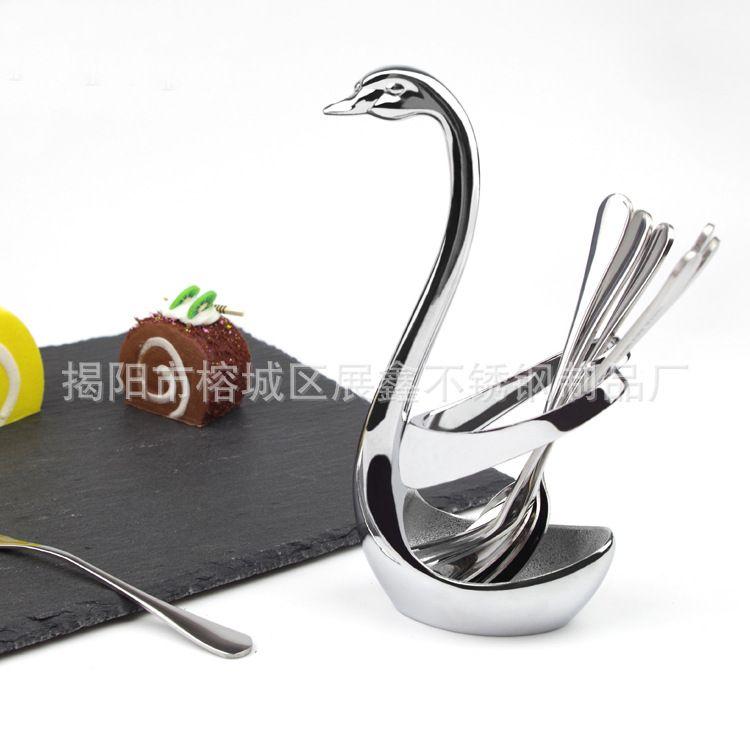 锌合金心形天鹅餐具座 创意餐具架 叉勺支架 餐桌摆件 礼品套装
