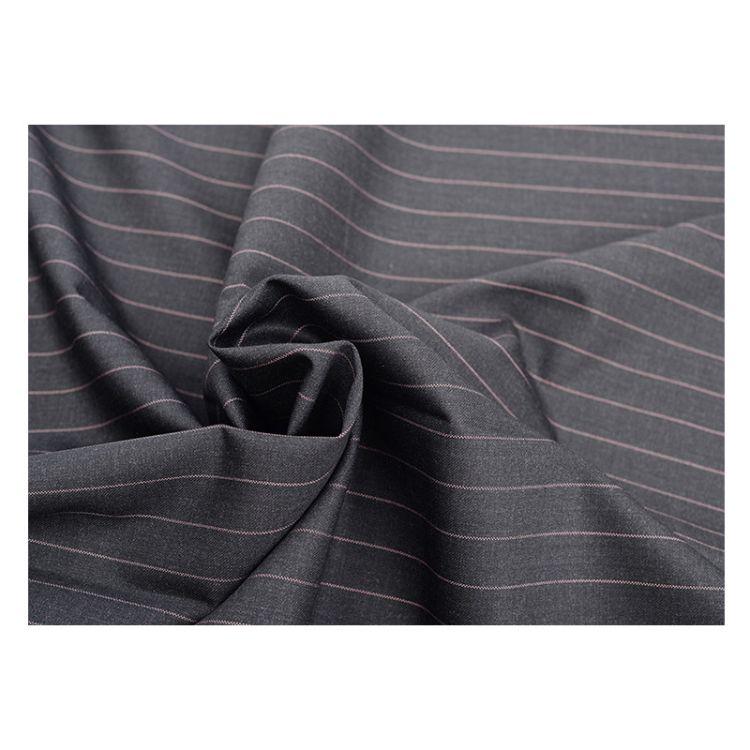灰色底粉色条纹休闲西装面料经典欧美宽条纹西装面料