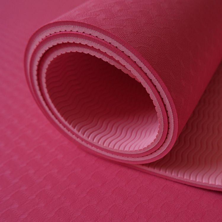 工厂直销tpe瑜伽垫加厚8mm 双色加长环保无味瑜伽垫子183*61厚8mm
