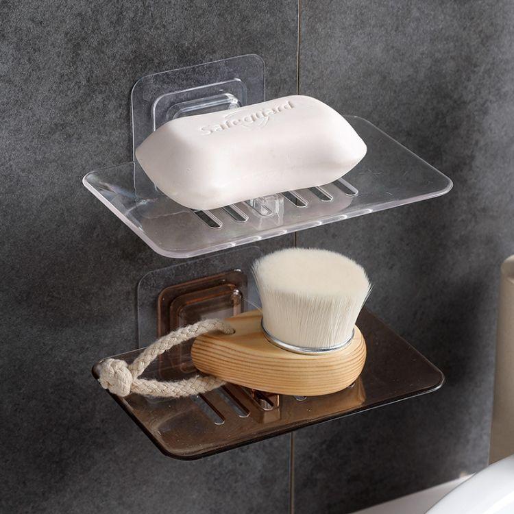 炫彩时尚免钉无痕壁挂式透明水晶导流沥水海绵架香皂盒 沥水架