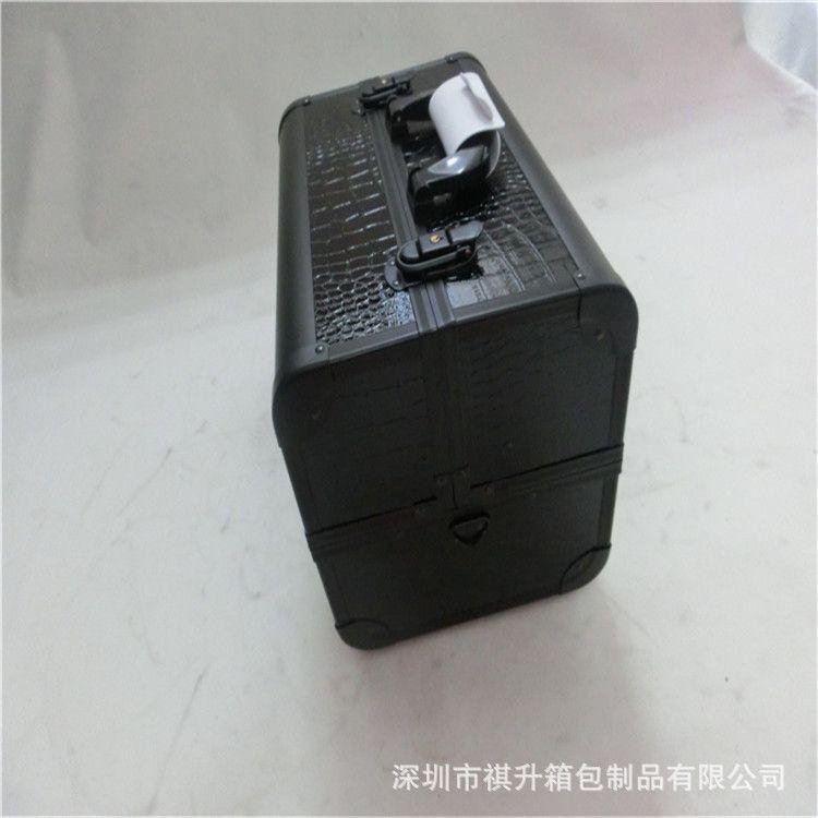 黑色pu皮化妆箱 大容量多功能简约便携手提化妆箱 美妆工具箱定制