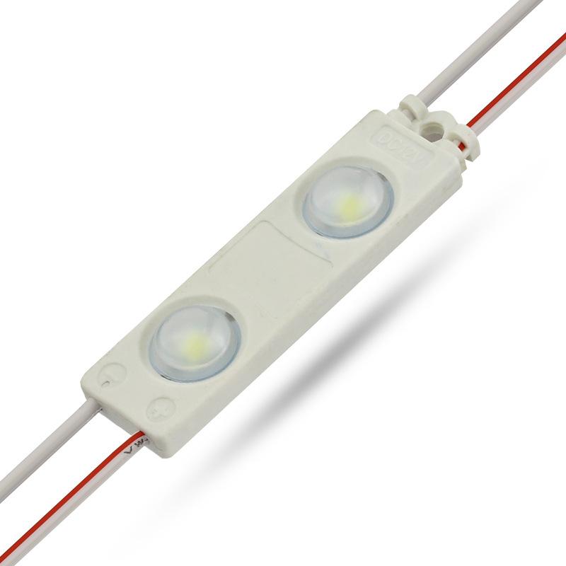 厂家直销超薄2灯透镜LED注塑模组2835高亮防水发光字标识光源