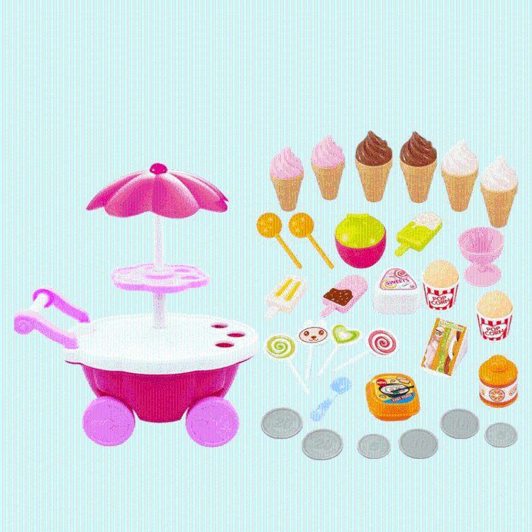 新款儿童过家家玩具带灯光音乐迷你超市糖果车冰淇淋烧烤小推车