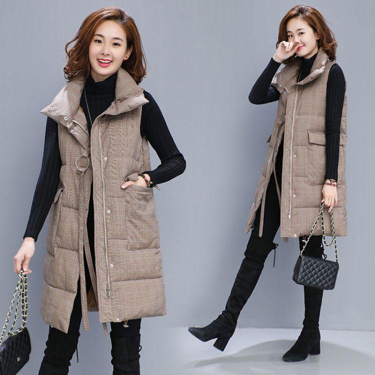 棉马甲女中长款冬2018新款潮韩版立领加厚羽绒棉马夹坎肩女士外套