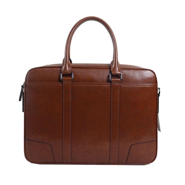 VCIRONS男包 男士手提包商务休闲牛皮单肩斜挎男公文包横款包包