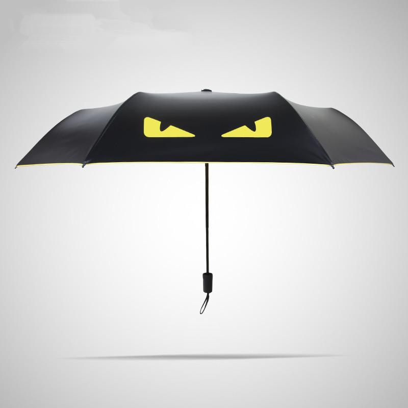 小恶魔黑胶晴雨伞小怪兽雨伞折叠创意韩国三折伞男士女士可印广告