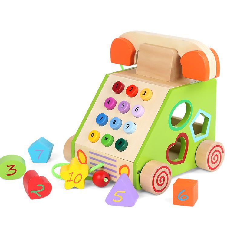 拖拉电话机 过家家玩具 形状积木认知 婴幼儿仿真打电话 批发