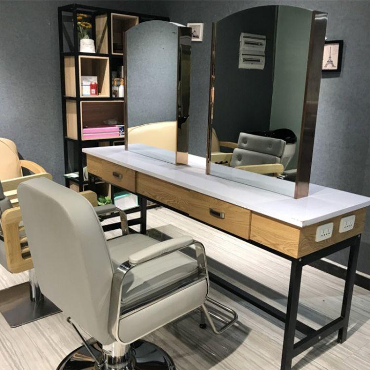 美发镜台烫染台落地复古四面理发店镜子发廊镜台双面专用简约实木