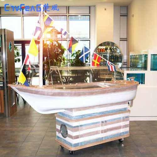 厂销特色船型冰柜 各超市宾馆海鲜生冷展示台 特色船只 室内装饰
