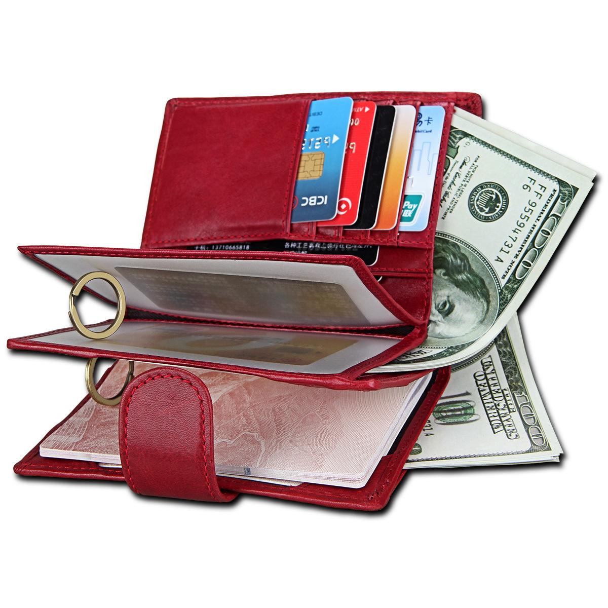 跨境货源RFID真皮护照包 男士时尚钱包牛皮卡包 定制LOGO厂家批发