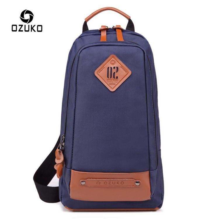 ozuko新款男式胸包创意时尚斜跨背包多功能单肩斜跨包