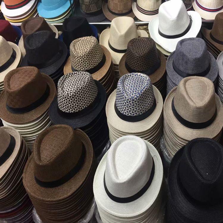 新款表演爵士帽供应格子双色草编礼帽 纸草草帽 男女遮阳小礼帽