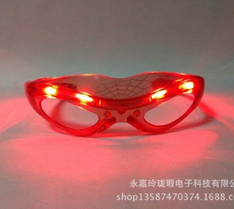 蜘蛛侠发光眼镜 LED闪光发光眼镜 舞会礼品助威道具厂家直销
