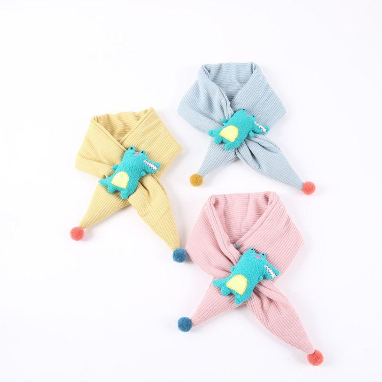 兒童圍巾冬季新款韓版卡通恐龍針織脖套男女寶寶可愛毛球交叉圍脖