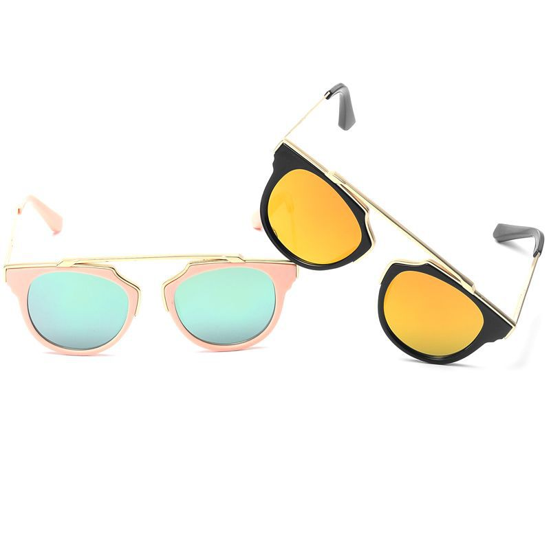 2018时尚儿童新款金属框墨镜女防紫外线眼镜女大童个性韩版太阳镜