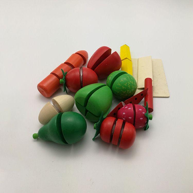 优质水果切切乐厨房过家家玩具木制切切看仿真水果蔬菜切切看桶装