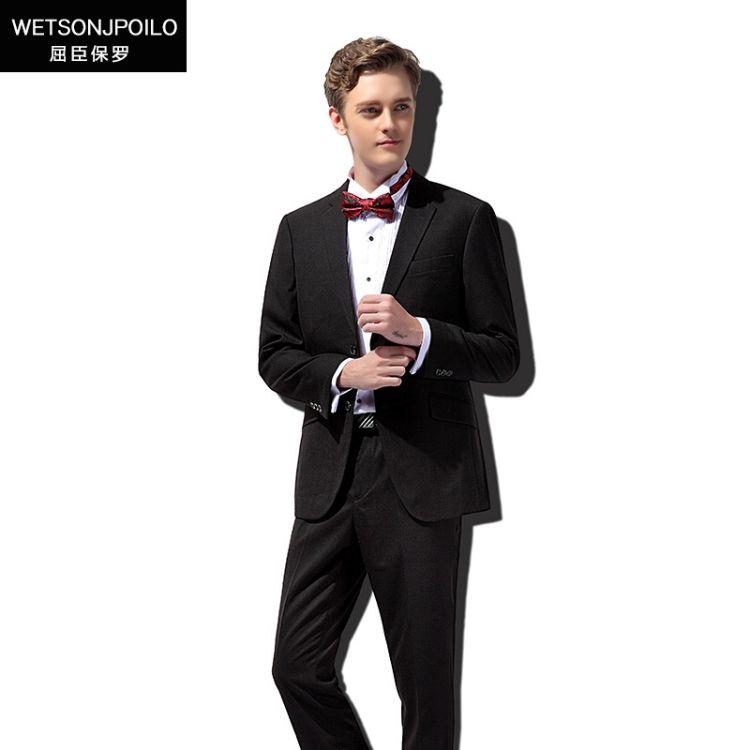 [订货]男士西服两件套黑色男式西装职业经典商务修身西服套装男