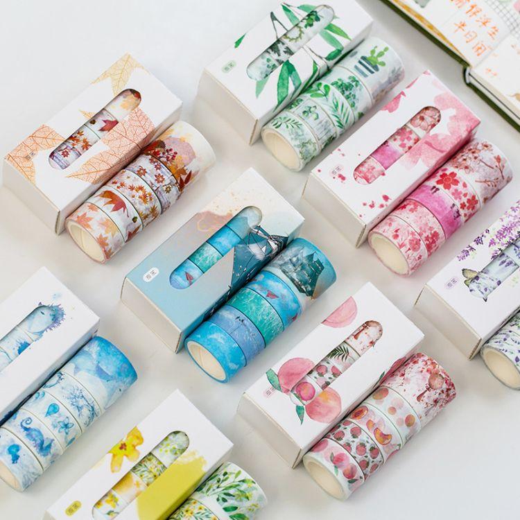 5卷装小清新少女手帐胶纸 花语系列套装和纸胶带相册DIY装饰贴画