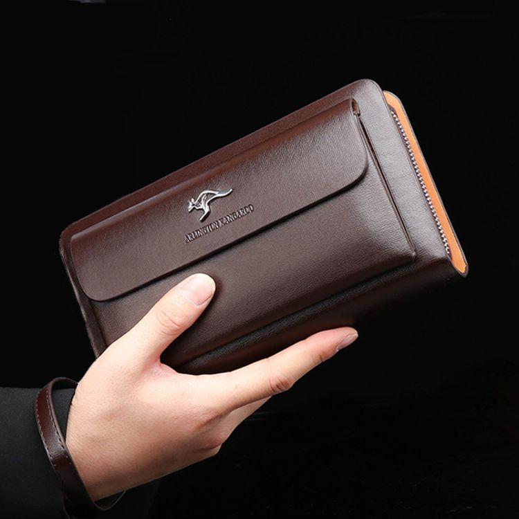 新款袋鼠男士多功能双拉链大容量手拿包休闲百搭手机钱包外贸货源