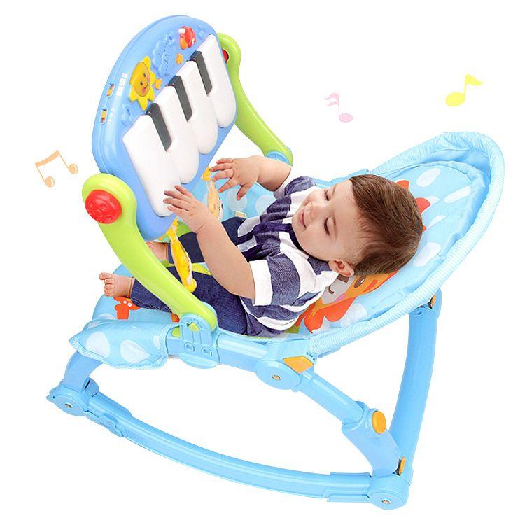 多功能可折叠灯光音乐婴幼儿脚踏健身器脚踏琴健身椅宝宝安抚玩具