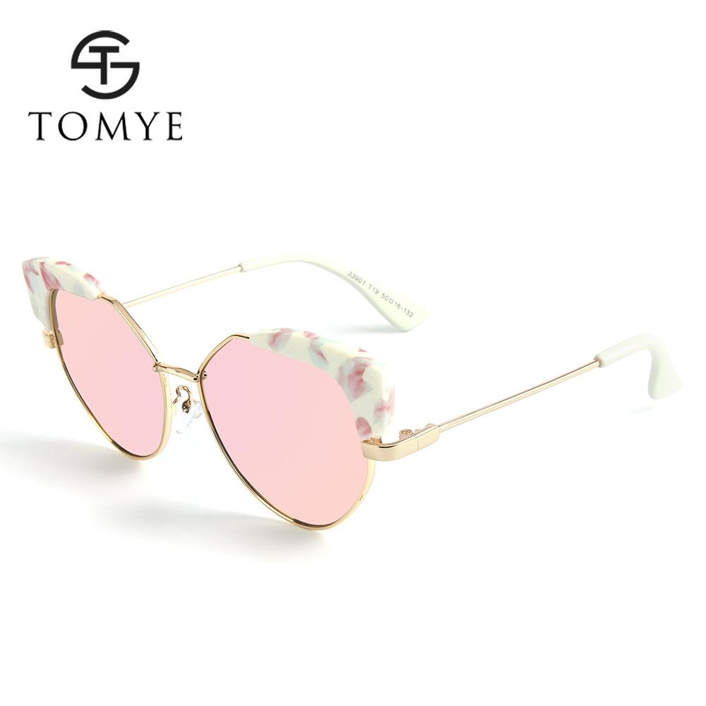 TOMYE 33901 新款时尚炫彩儿童太阳镜 PC豆花框偏光猫眼墨镜批发